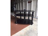 Glass TV Stand/Table - Black -2 Shelves