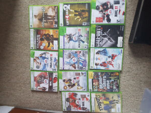 Xbox 360, 2 controllers 12 games, all hookups