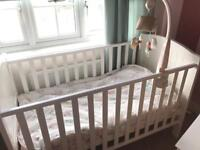 Lovely white wooden cotbed and mattress perfect condition