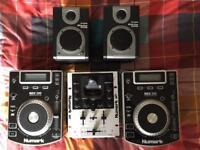 CDJ Bundle - 2x Numark NDX 200 Turntables, Numark iM1 Mixer & Alesis M1 Active 320 USB Speakers