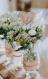 Hessian and lace twine jars