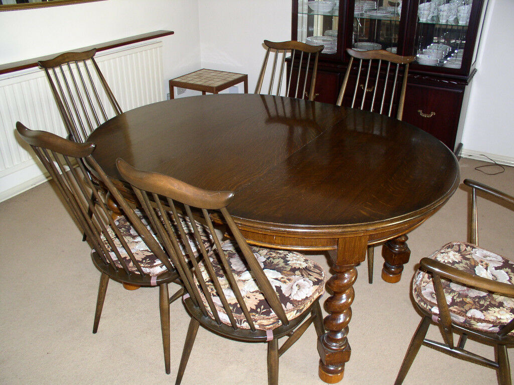 Victorian Dining Table 6 Ercol Chairs Carvers Coffee
