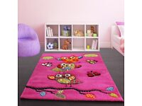 Thick, good quality cute pink Owl rug – fuschia pink, green & blue 120cm by 170cm Nursery Kids Child