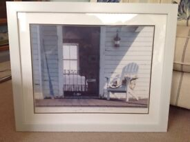 White framed costal Hamptons inspired picture, 61cm high, 74cm wide, in very good condition.