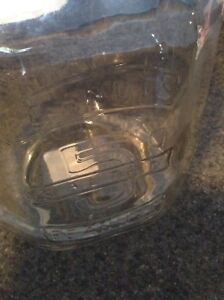 VINTAGE LARGE GLASS PEANUTS 5 CENT JAR COLLECTIBLE