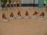 Set of 6 horse shot glasses