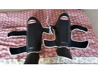 Sandee shin guards black leather size medium