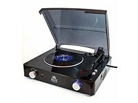 GPO Stylo 3 Speed Stand Alone Turntable with Built In Speakers - Black