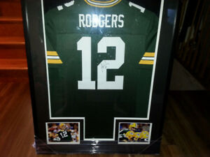 Signed Aaron Rodgers Jersey in shadow box