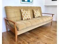 Vintage Retro Sofa Bed Wooden Armrests #361