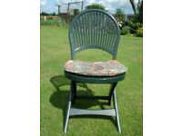 FOUR FOLDING CHAIRS (GRAND SOLEIL) AND OPTIONAL GREEN CIRCULAR TABLE