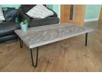 Coffee Table - Reclaimed pallet rustic coffee table with steel hairpin legs