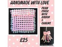 Pom Pom Pram Cover with ribbon & charms