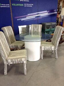 Round glass table with 4 chairs @HFHGTA - Markham