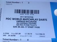 Darts final ticket
