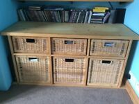 Two handmade solid pine storage units with Ikea baskets