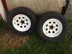 Trailer tires, rims, axle and fenders