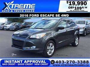 2016 FORD ESCAPE SE 4WD $0 DOWN $109 B/W APPLY TODAY