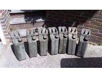 7x 20L steel jerry cans, used, plus flexible spout
