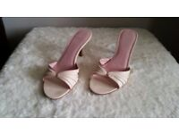 Pink kitten heel sandal by Faith