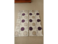 Beige Gold & Dark Purple Floral Fully Lined Eyelet Curtains - 90ins x 54ins - Brand New