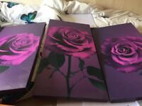 Purple flower canvas 3set wall hanging