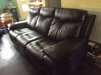 3 seater, reclining black leather sofa