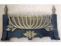 Heavy brass fire gate / surround with black painted areas