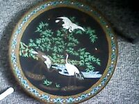 chinese /oriental 19th centure bronze cloisonne charger