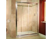 1200 x 700 shower tray from pearlstone,with 1200x1850 white sliding doors