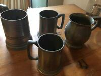 Antique heavy Pewter mugs