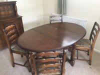 Dining Room Table Plus 4 Matching Chairs In Dark Oak