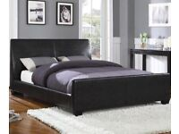 Black king size bed frame and mattress