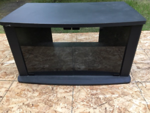 Black JVC brand TV cabinet Stand with Shelf and 2 Glass Doors
