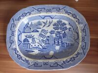 Antique large willow pattern meat platter c1850