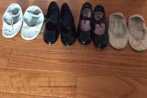 Girls dance shoes (tap and ballet) and bodysuits
