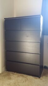 Black-Brown Chest of 6 drawers