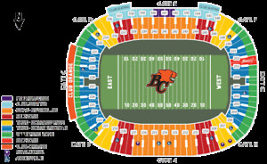 BC LIONS V MONTREAL ALOUETTES + FRONT ROW AISLE 55 YARD PAIR