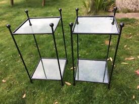 Two Wrought Iron and Glass Bedside Tables