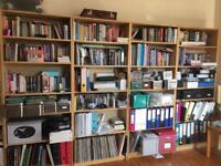 Home office furniture - Ikea Birch book cases, storage and desk