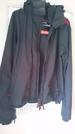Superdry XL men's black wind cheater jacket. Used