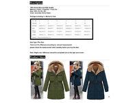 Ladies winter coat jacket size S ~UK 8 (new)