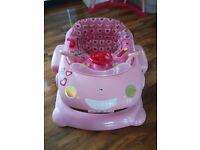 Pink car baby walker