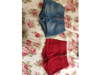 Two pairs of ladies high waisted Denim shorts. Size M