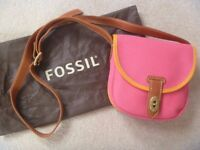 Beautiful Fossil handbag / Bag , cross over style, in flamingo pink canvas