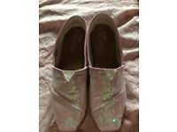 Sequin Pink Toms size 6!
