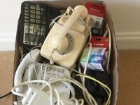 Box of Assorted telephones, printer,cables