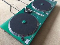 2 X Technics SL-1210 MK2 Turntables With Custom Green Candy Cover & Matching 45