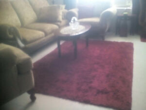 Two shag  rugs burgandy 45.00