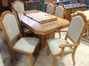 Oak Dining Set with Upholstered Chairs